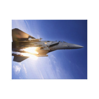 f-15 jet launching missile canvas print