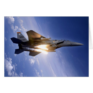 f-15 jet launching missile greeting card
