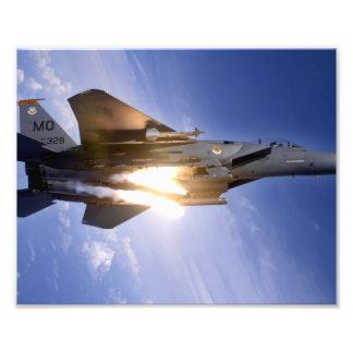 f-15 jet launching missile photo print
