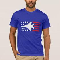 F-15 Strike Eagle Jet Red White Blue Stars Stripes T-Shirt