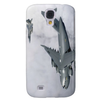 F-15B Eagles escort the first Hawaii-based C-17 Galaxy S4 Cover