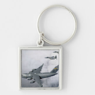 F-15B Eagles escort the first Hawaii-based C-17 Silver-Colored Square Keychain