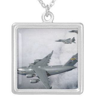 F-15B Eagles escort the first Hawaii-based C-17 Square Pendant Necklace