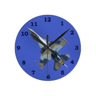 F-16 Electric Jet Tan Camo Round Clock