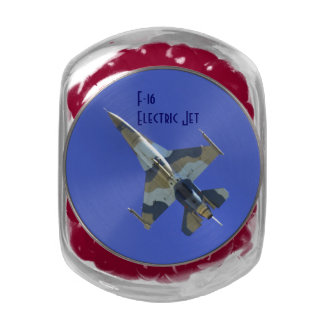 F-16 Fighting Falcon Electric Jet Glass Candy Jar