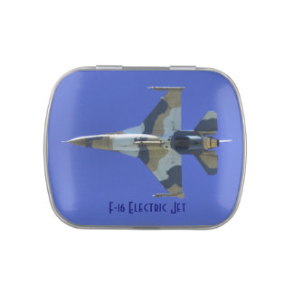 F-16 Fighting Falcon Electric Jet Jelly Belly Candy Tins