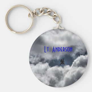 F-16 Fighting Falcon in Clouds with Full Name Keychain