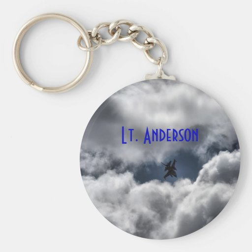 F-16 Fighting Falcon in the Cloudy Sky Keychains