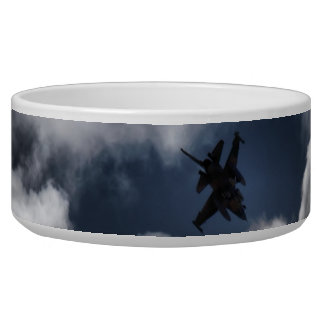F-16 Fighting Falcon in the Cloudy Sky Pet Bowls