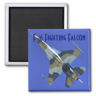 F-16 Fighting Falcon Labeled 2 Inch Square Magnet
