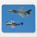 "F-16 Fighting Falcon &amp; P-51 Mustang Mouse Pad<br><div class=""desc"">military airplanes photos air show F-16 Fighting Falcon &amp; P-51 Mustang heritage flight Mouse Pad</div>"