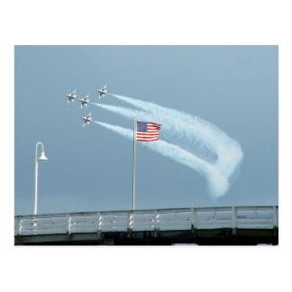 F-16 Fighting Falcons American Flag Postcard