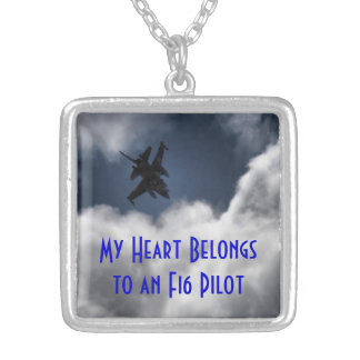 F-16 My Heart Belongs to a Pilot Silver Plated Necklace