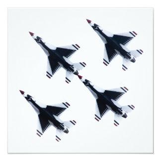 F-16 Thunderbirds - cuatro en la formación Invitación 13,3 Cm X 13,3cm