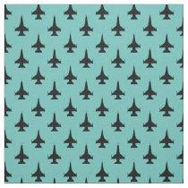 F-16 Viper Fighter Jet Pattern Black Fabric