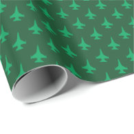 F-16 Viper Fighter Jet Pattern Green on Green Wrapping Paper