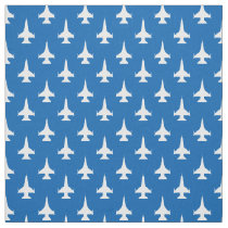 F-16 Viper Fighter Jet Pattern White Fabric