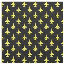 F-16 Viper Fighter Jet Pattern Yellow Fabric