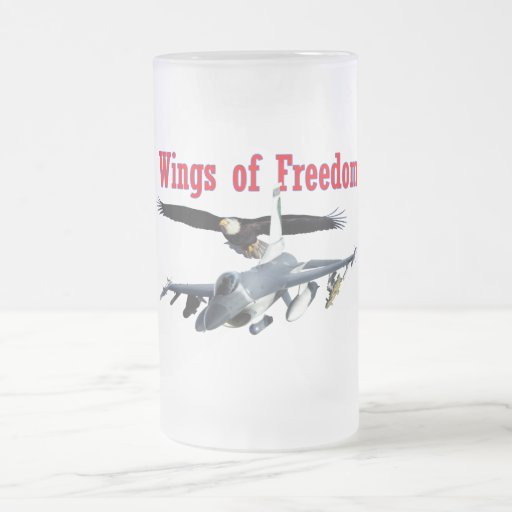 F-16 Wings of Freedom 16 Oz Frosted Glass Beer Mug