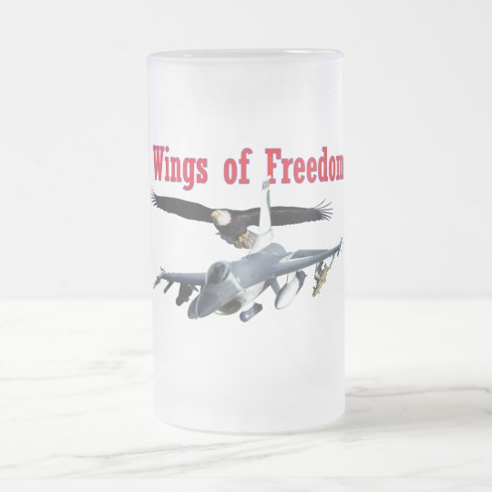 F-16 Wings of Freedom Frosted Glass Beer Mug