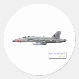 F-18 con la escuadrilla azul de los diamantes VFA- Pegatina Redonda