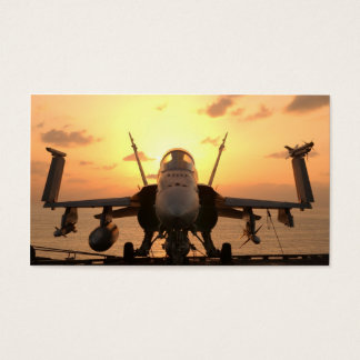 F-18 Hornet at sea aboard US Aircraft Carrier Business Card