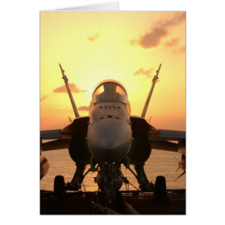 F-18 Hornet at sea aboard US Aircraft Carrier Card