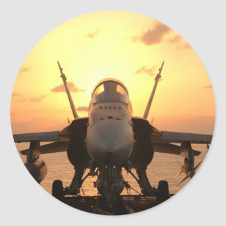F-18 Hornet at sea aboard US Aircraft Carrier Classic Round Sticker