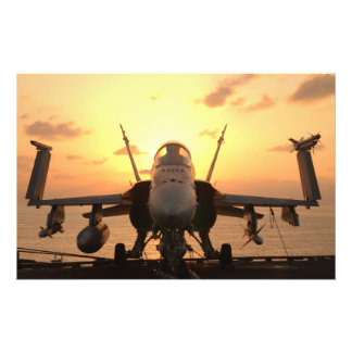F-18 Hornet at sea aboard US Aircraft Carrier Flyer