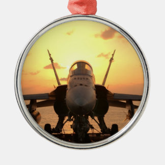 F-18 Hornet at sea aboard US Aircraft Carrier Metal Ornament