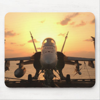 F-18 Hornet at sea aboard US Aircraft Carrier Mouse Pad