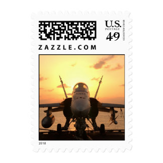 F-18 Hornet at sea aboard US Aircraft Carrier Postage Stamp