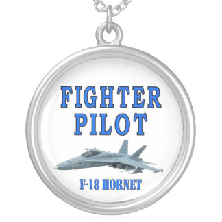 F-18 HORNET ROUND PENDANT NECKLACE