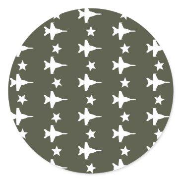 F-18 Pattern Classic Round Sticker