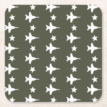 F-18 Pattern Square Paper Coaster