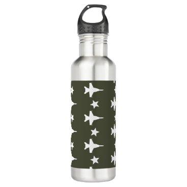 F-18 Pattern Stainless Steel Water Bottle
