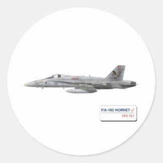 F-18 with VFA-147 ARGONAUTS Squadron Classic Round Sticker