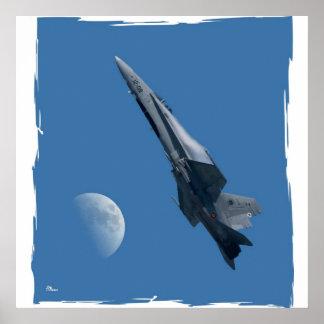 F-18 y luna póster