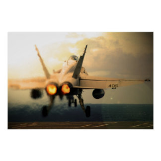 F-18C Hornet Carrier Afterburner Takeoff Poster
