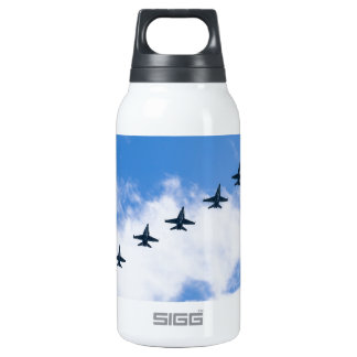 F-18C Hornets flying in blue sky with clouds Insulated Water Bottle
