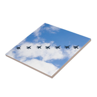 F-18C Hornets flying in blue sky with clouds Tile