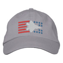 F-22 Fighter Jet Stars and Stripes Embroidered Baseball Hat