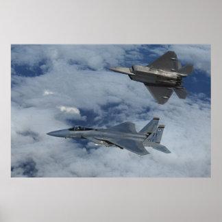 F-22 Raptor and F-15 strike eagle Poster
