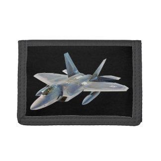 F-22 Raptor Fighter Jet Custom Background Color Trifold Wallet