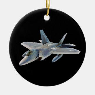 F-22 Raptor Fighter Jet on Black Ceramic Ornament