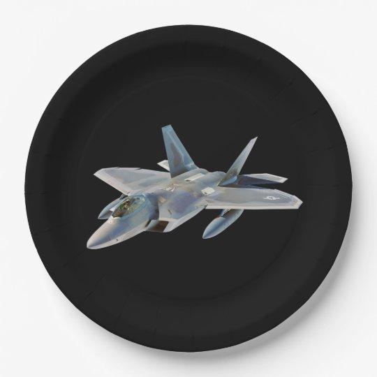F-22 Raptor Fighter Jet on Black Paper Plate  sc 1 st  Zazzle & F-22 Raptor Fighter Jet on Black Paper Plate | Zazzle.com