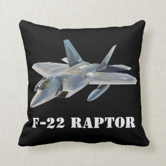F-22 Raptor Fighter Jet on Black Throw Pillow