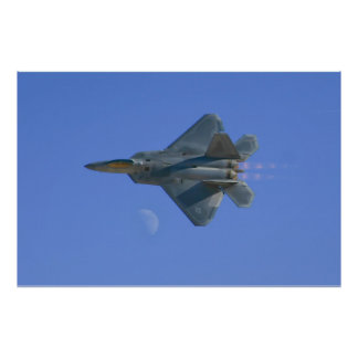 F-22 Raptor High Speed Pass Over the Moon Print