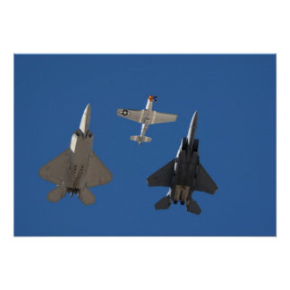 F-22 Raptor, P-51 Mustang, and F-15 Eagle Poster