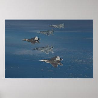 F-22 Raptors and F-15 Eagles Poster